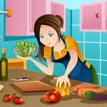 女性が台所で健康食品を調理 — ストックベクタ #45776601