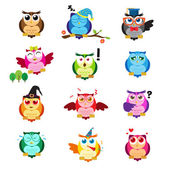 Different owls with different expressions — Stock Vector