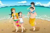 Family going to the beach — Stock Vector