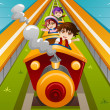 Kids riding a train — Stock Vector #46507499