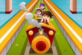 Kids riding a train — Stock Vector