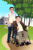 Man pushing a senior man in a wheelchair — Stock Vector