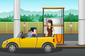 People filling up gasoline at the gas station — Stock Vector