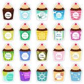 Birthday cupcakes icons — Stock Vector