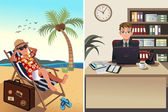 People going to work and vacation concept — Stock Vector