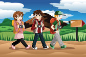 Children going on an adventure — Stock Vector