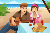 Couple having a picnic — Stock Vector