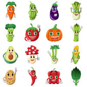 Vegetable character icons — Stock Vector