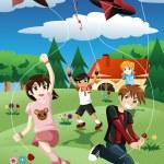 Kids flying kite — Stock Vector #47328807