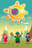 Art summer camp poster — Stock Vector