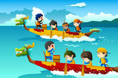 Kids in a boat race — Vector de stock