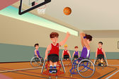 Men in wheelchairs playing basketball — Vector de stock