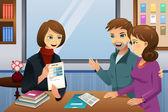 Родители учителя встреча — Cтоковый вектор