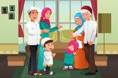 Family celebrating Eid-al-fitr — Stock Vector