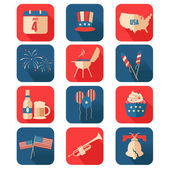 Fourth of July icons — Stock Vector