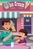 Father and son eating ice cream — Stock Vector