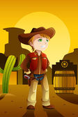 Boy dressed up as a cowboy — Stock Vector