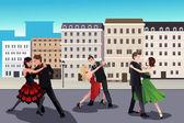 People dancing tango  — Stock Vector