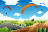 People paragliding  — Stock Vector