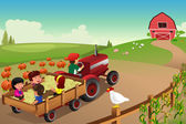 Kids on a hayride in a farm during Fall season — Stock Vector