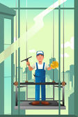 Windows cleaner of high rise buildings — Stockvector
