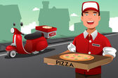 Man delivering pizza — Stock Vector