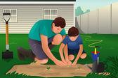 Отец и сын, работающих на цветочном саду — Cтоковый вектор