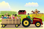 Kids going on a hayride in a farm with corn fields in the backgr — Stock Vector
