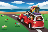 Family going on a beach vacation — Stock Vector