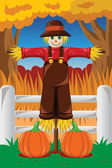 Scarecrow in the Fall season — Stock Vector