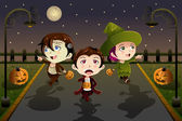 Crianças vestindo trajes de halloween — Vetor de Stock