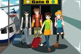 Группа молодых людей, путешествующих вместе — Cтоковый вектор