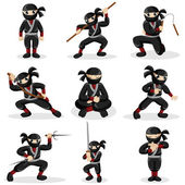 Ninja kids in different poses — Stock Vector