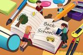 学校の背景に戻る — ストックベクタ