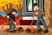 Father son raking leaves during Fall season — Vector de stock