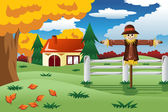 Scarecrow in the Fall season — Cтоковый вектор