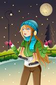 Girl playing ice skating — Stock Vector