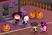 Kids wearing Halloween costumes — Stock Vector