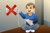 Danger of playing with an electrical outlet — Stock Vector