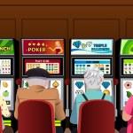 Постер, плакат: Senior people playing slot machines in the casino