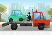Tow truck towing a broken down car — Stock Vector