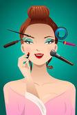 Applying makeup on a woman head — Stock Vector