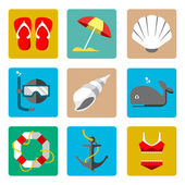 Summer marine icons — Stock Vector