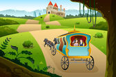 Prince and princess riding a wagon — Stock Vector