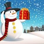 boneco de neve segurando o presente de Natal — Vetor de Stock  #8180603