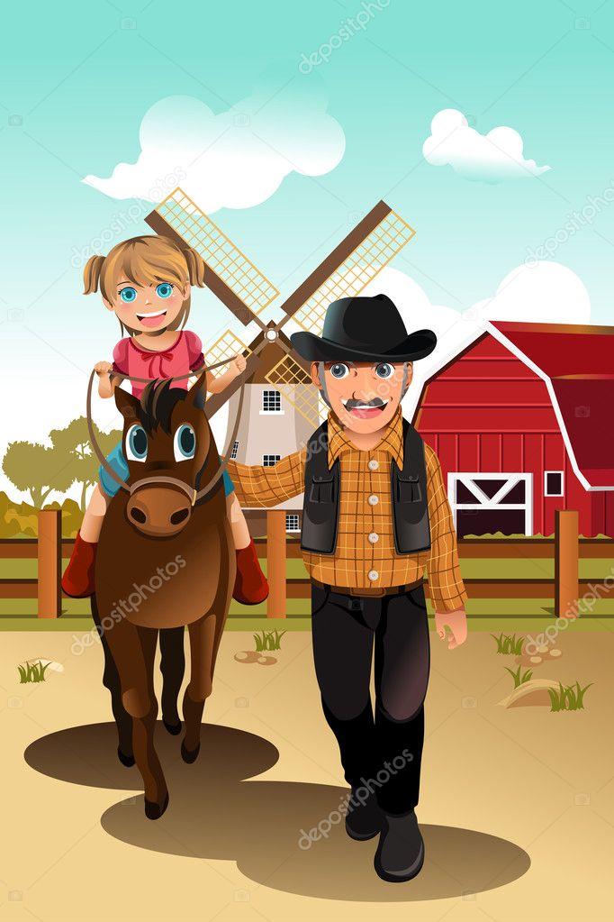 与祖父的女孩骑乘马