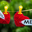 Romantic hearts labelled You and Me — Stock Photo #12103131
