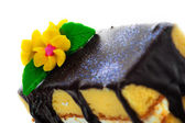 Cake with chocolate and flower — Stock Photo