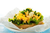 Sandwich with scrambled egg — Stock Photo
