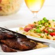 Steak and pasta — Stock Photo